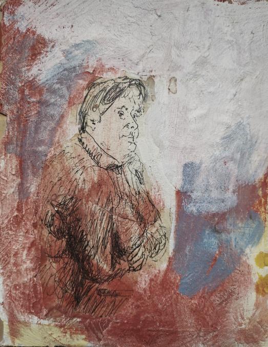 Frau im Restaurant, Tusche, Öl auf Holz, 2006