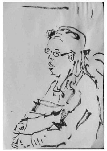 Frau im Lokal, Tusche auf Papier, 2016