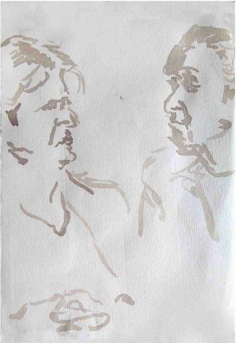 Im dialog, Tusche auf Bütten, 2012