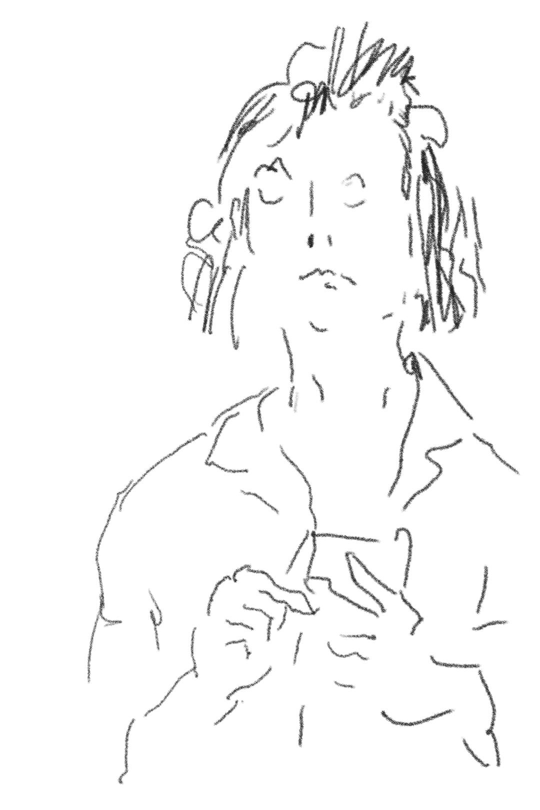 Frau mit Smartphone, Screenzeichnung, 2020