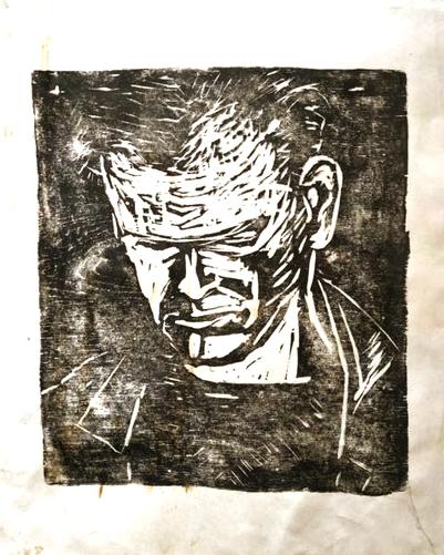 Portrait Peter John, Holzschnitt, 1987