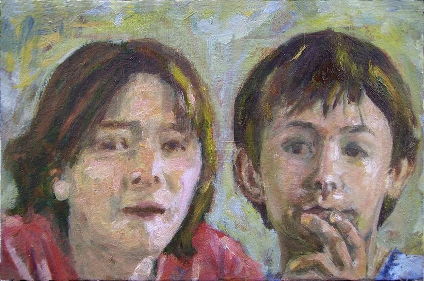 Nachbars Kinder, Acryl & Öl auf Holz, 22x32cm, 2008