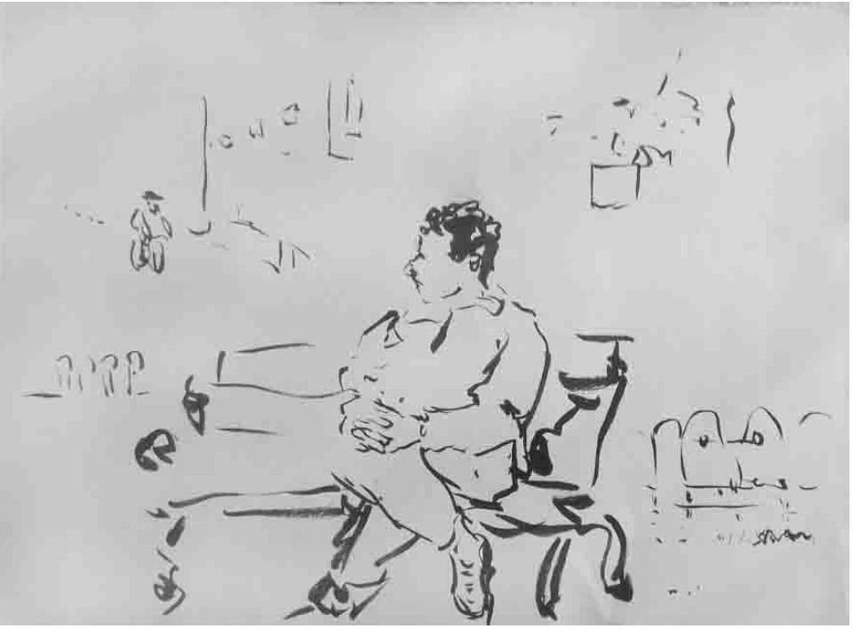 Auf der Bank, Tusche auf Papier, 2002