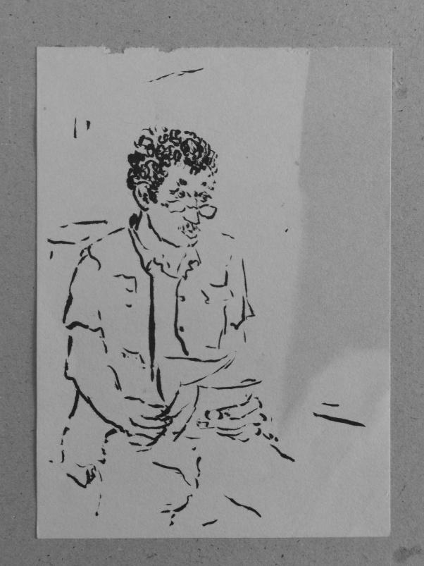 In der Wartehalle, Tusche auf Papier, 1990