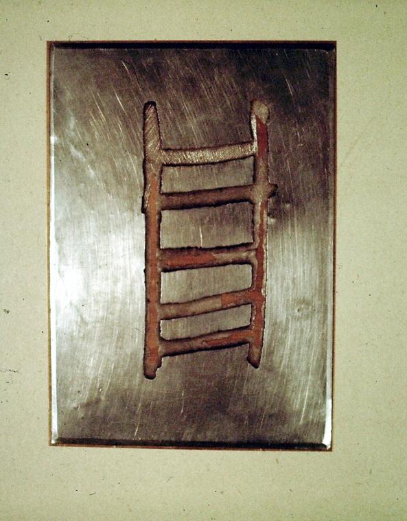 Rune, Zink, Messing, 21x15cm, 1982