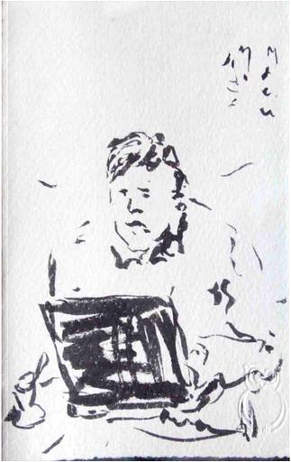 Mann mit Klapprechner, Tuschze auf Papier, 2013