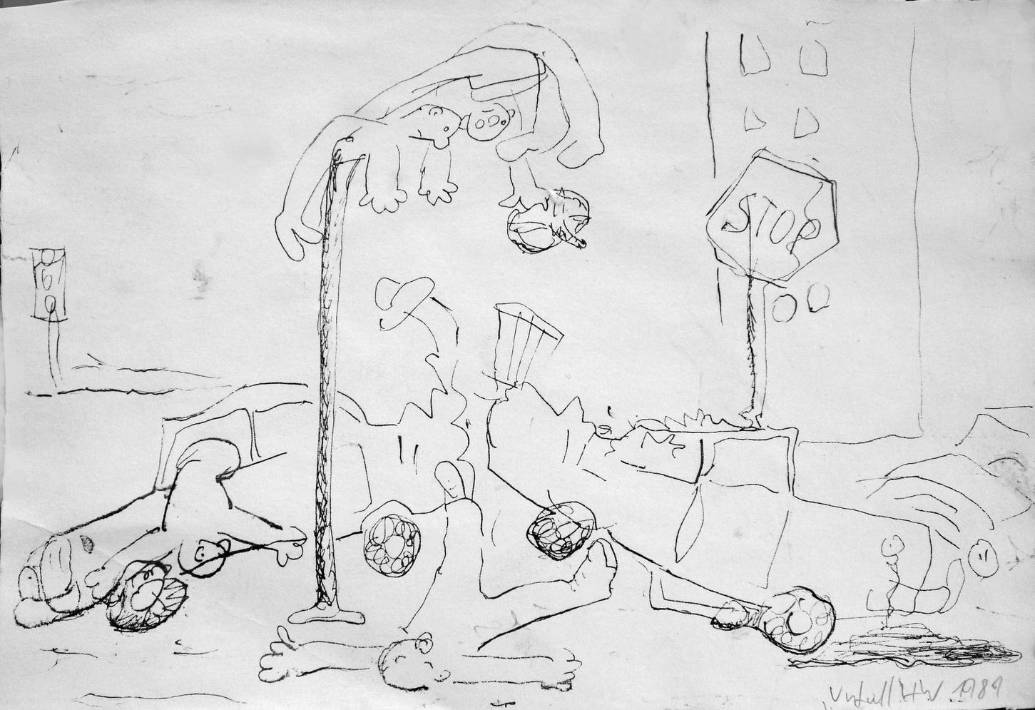 Unfall, Feder auf Papier, 1989