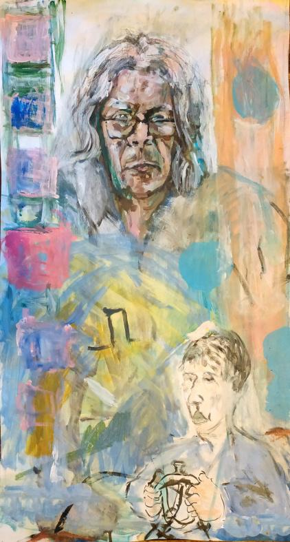 Buchhändler, Acryl & Öl auf Papier, 80x100cm, 2012