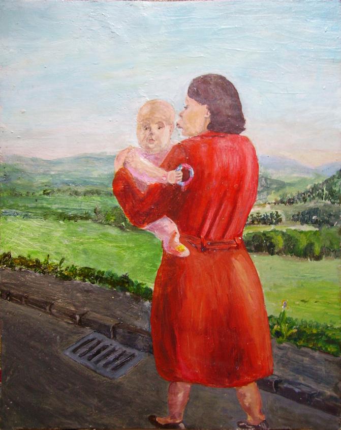 Mutter mit Kind bei  Eikamp, Eitempera auf Holz, 1985