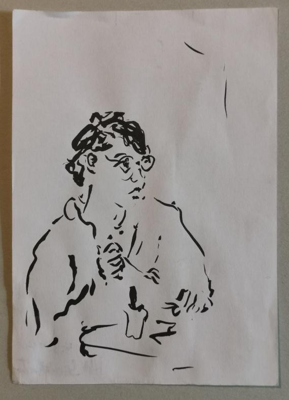 Frau im Lokal, Tusche auf Papier, 2012