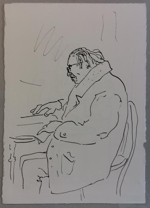 Im Cafe, Tusche auf Papier, 1989