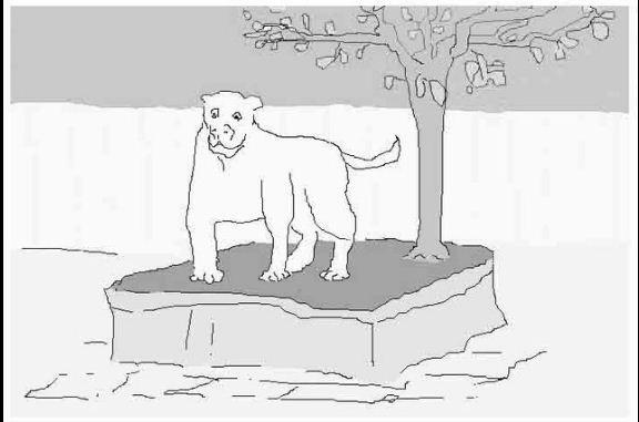Hund am Neumarkt, Mauszeichnung, 2004