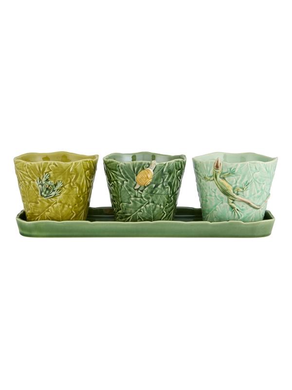 Keramikset Vase mit Platte