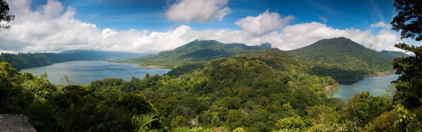 You cross the rainforest mountains. Enjoy the breathtaking view from the top down to Twin Lakes Buyan and Tamblingan