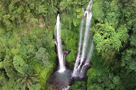 Sekumpul Waterfalls from a distance