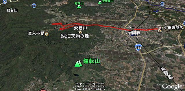 小田喜商店からホタルの里へ(赤線)。2007年5月26日 google earth より GPXlogger で記録。