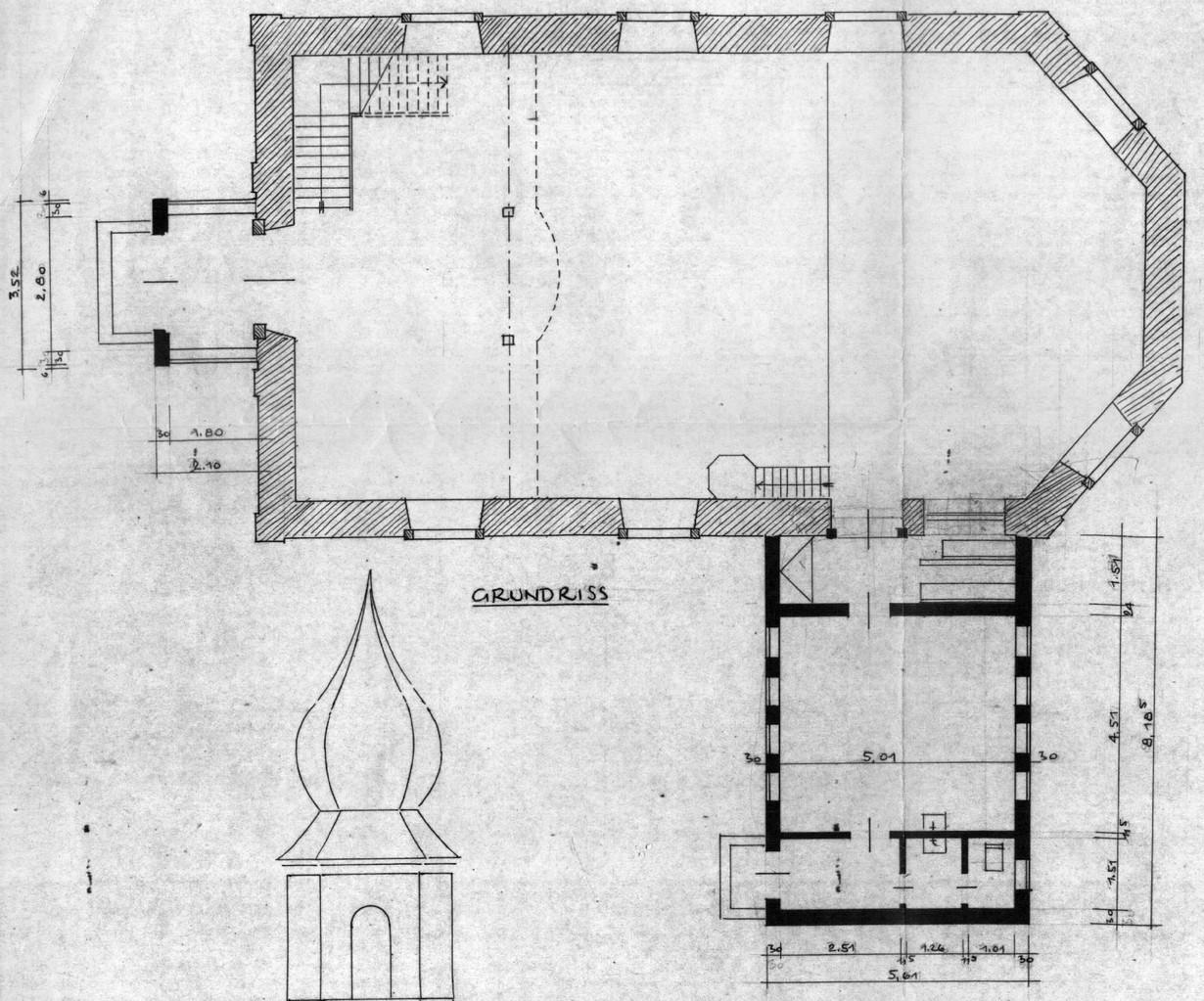 Kirchenschiff mit Anbau Sakristei