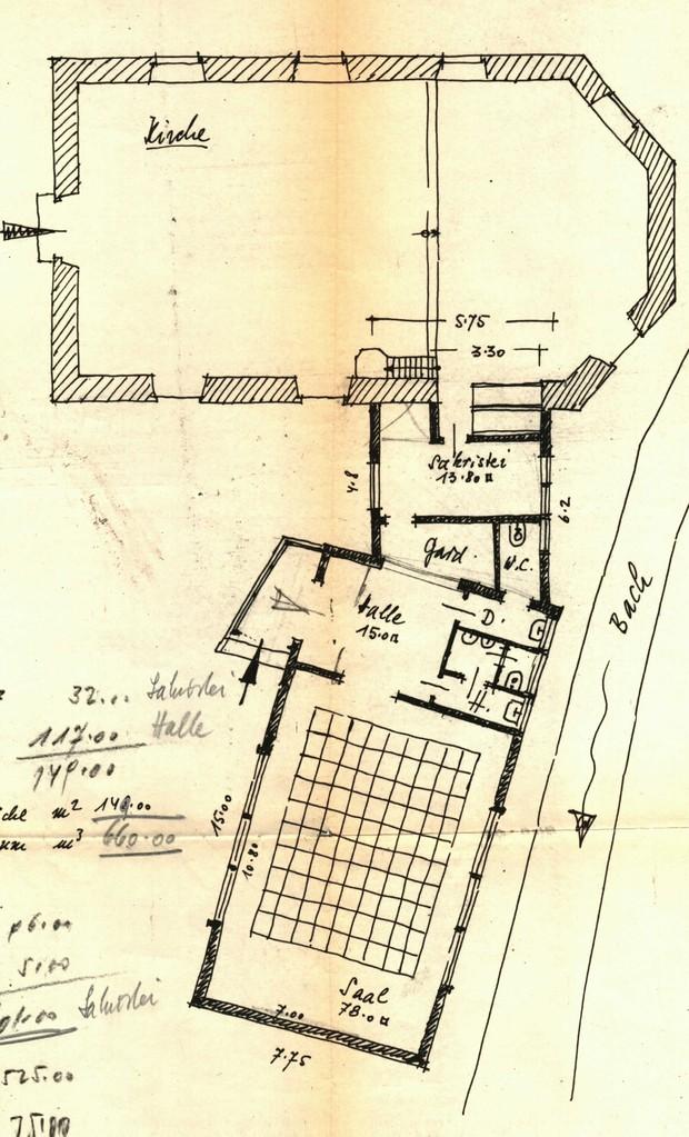 Entwurf mit Kirchenschiff, Sakristei und Gemeinderaum
