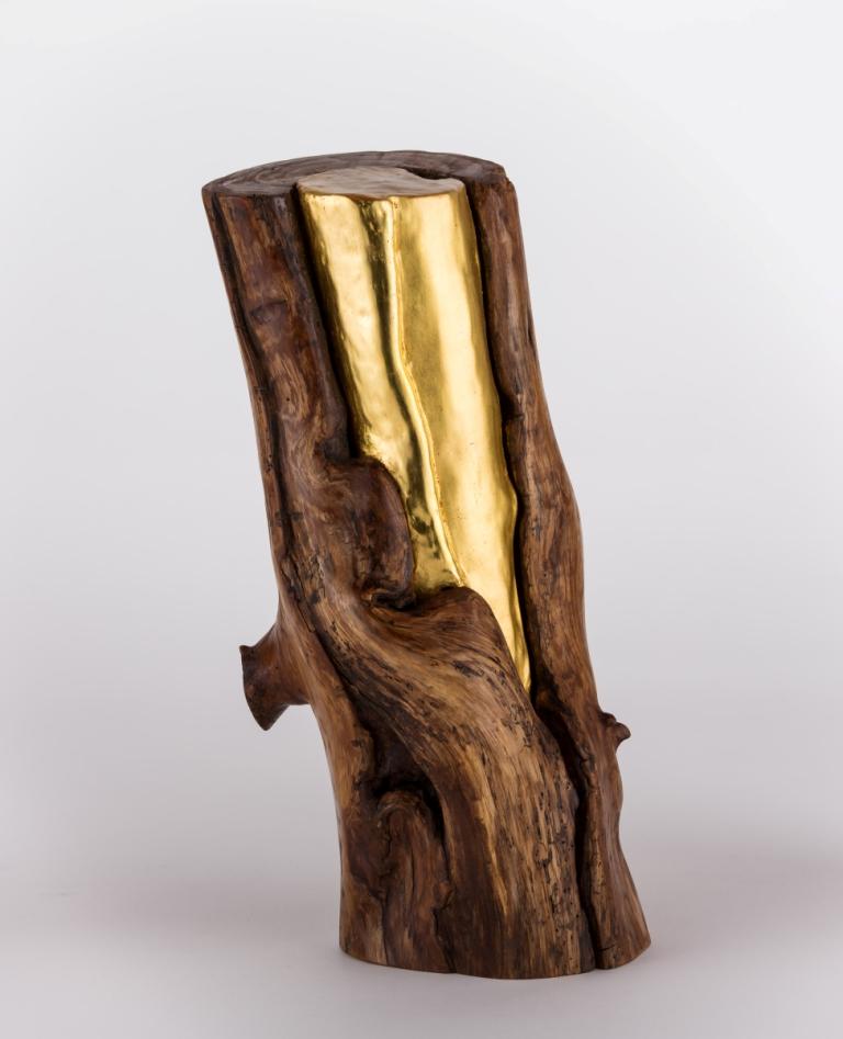 PAGLITAW Orme blessé, feuilles d'or 23 carats. Hauteur 34 cm