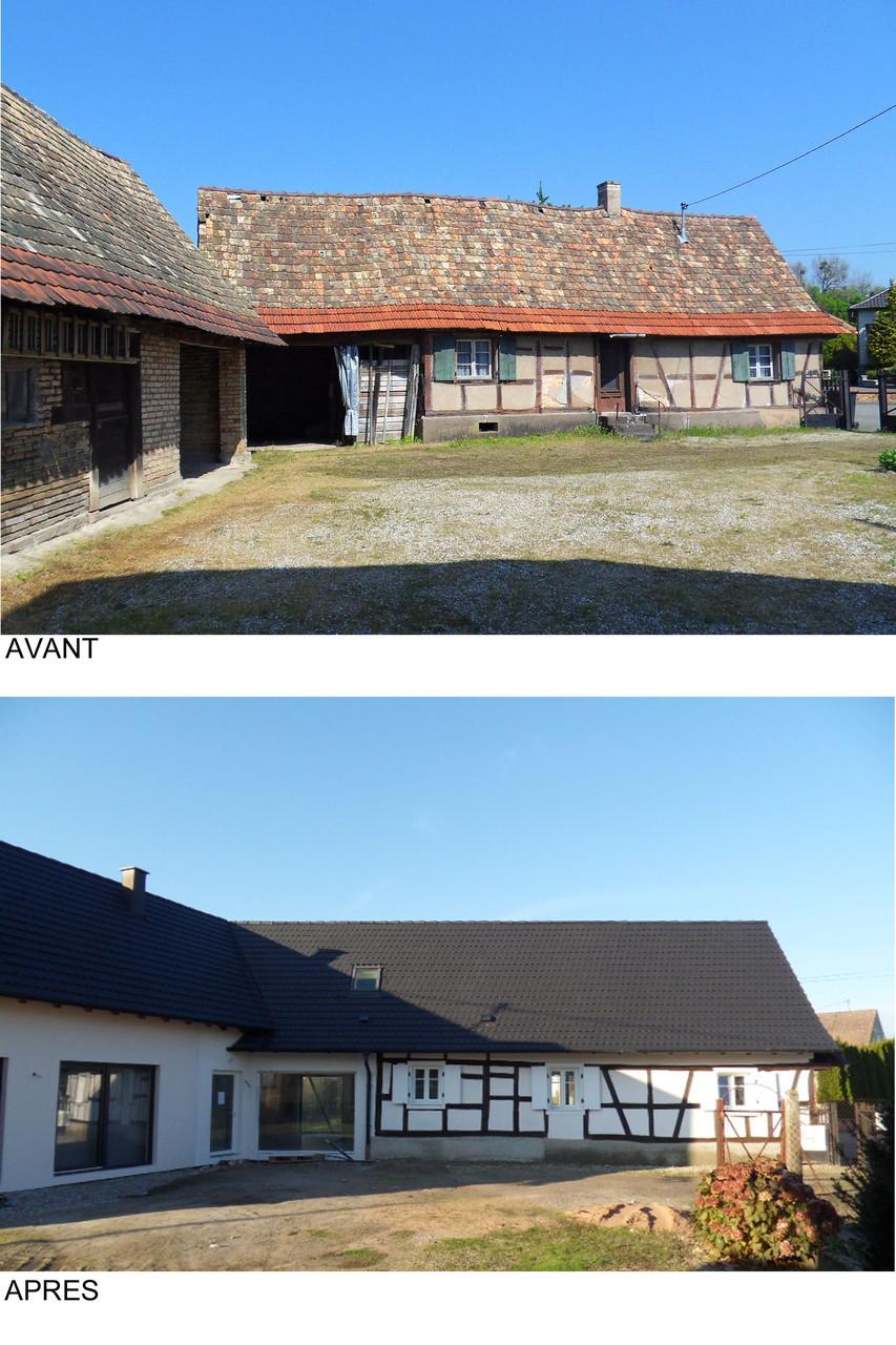 Vue depuis la cour intérieure avant et après travaux
