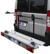Portapacchi, Portamoto posteriore per camper e furgoni con un carico utile di 120-150 kg. Sistemi di trasporto posteriore per il trasporto di scooter, moto o biciclette.