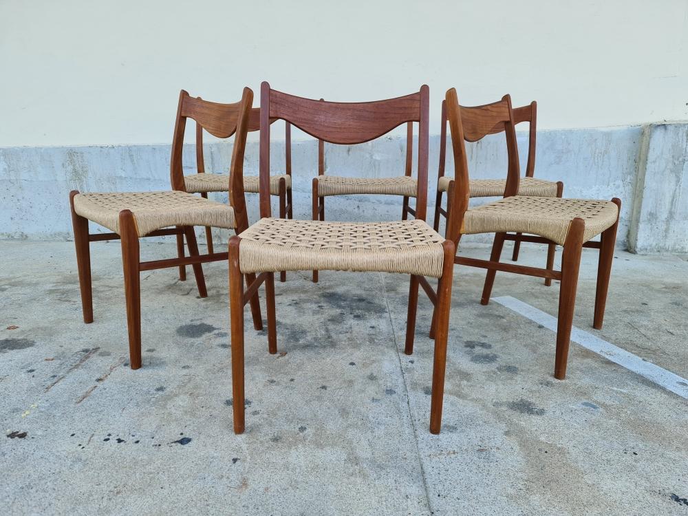 6 Chaises en Teck et corde GS60 par Arne Wahl Iversen pour Glyngore Stole fabric
