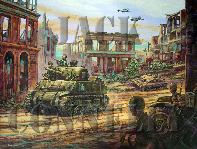 American Sherman tank, moving Through 1944