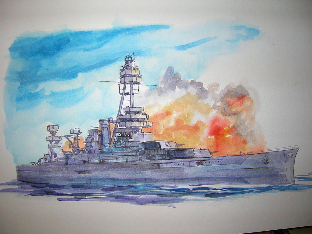 """Battleship of Texas In Action"" Watercolor sketch"
