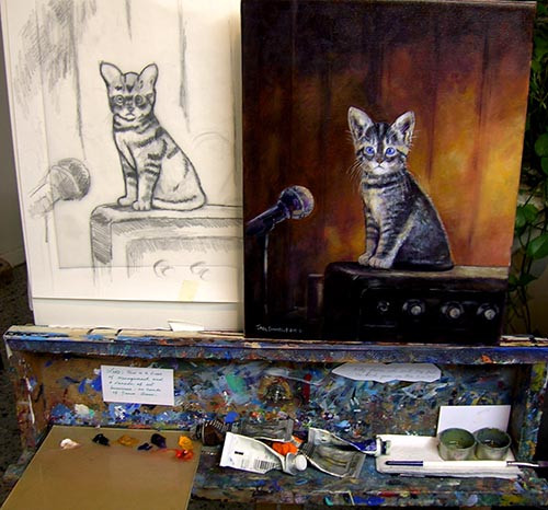 """Garage Band Kitten"" (Custom painting) - Sketch/Completed Painting Comparison by Jack Connelly"