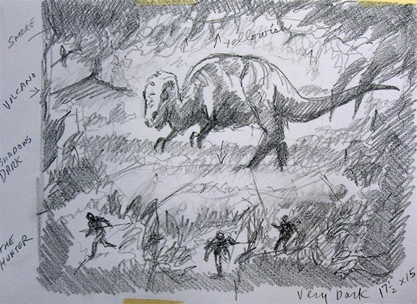 """Dinosaur Hunter and Hunted"" Sketch"