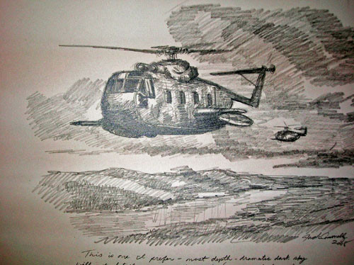"""Jolly Green Giant Helicopter"" Graphite Sketch"