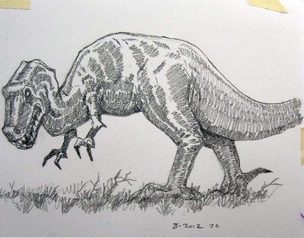 """Dinosaur Hunter and Hunted"" Detail Dinosaur Sketch"