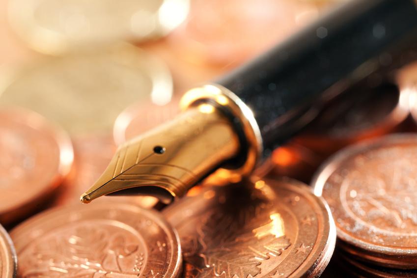 Goldener Füller auf Münzen, Waterstraat Münzhandel