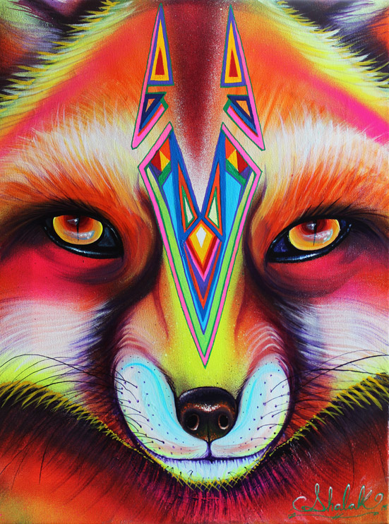 """""""Fox"""", Acrylic on Canvas, 2015 (Sold to Private Collector -London England)"""