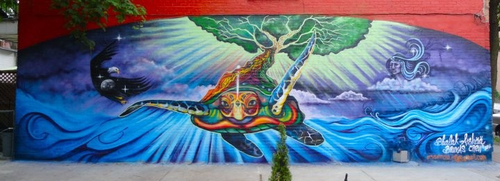 Mura by Shalak Attack & Aishaa (2011) Dedicated to the Ancestral legends that unite us from South to North, and East to West. Telling the story of the Turtle as Mother Earth and from her back grows the Tree that unites sky women and the ocean.