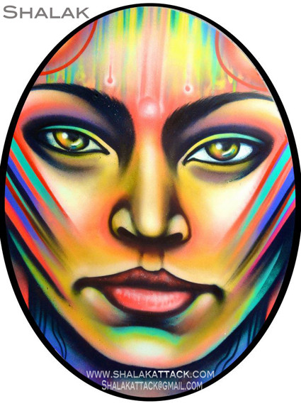 """METAMORFOSIS #1""  By Shalak.  Spraypaint on wood (1.80m x 1.20m Oval) 2011, Brazil (Available for Purchase in Sao Paulo, Brazil, Inquire directly with artist)"