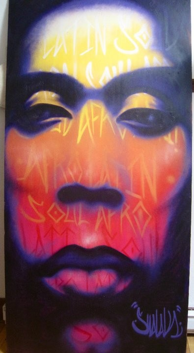 """""""Afro Latin Soul"""" By Shalak.  Spraypaint on wood,  (8ft x 4ft), 2010, Canada   (Private Collection - Canada)"""