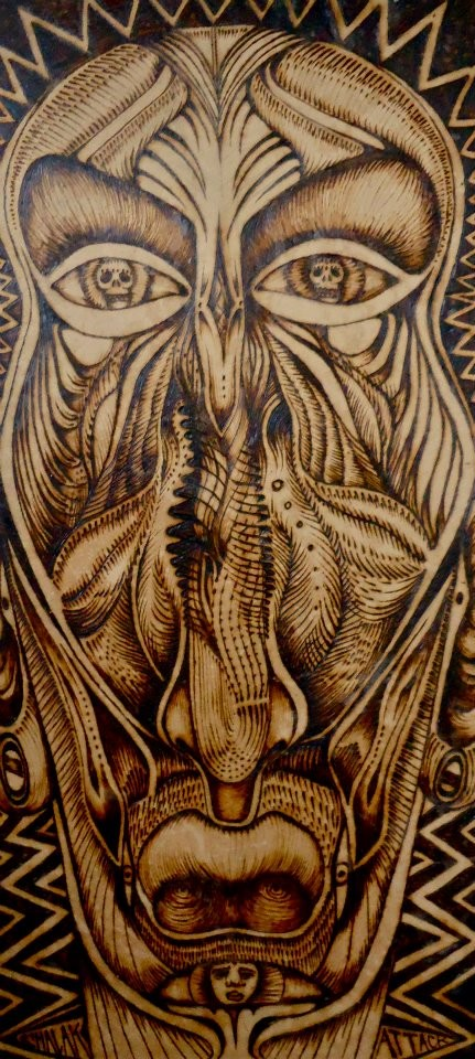 """Mascara Organika"" by Shalak. Pirografo (Wood burning technique on wood)  2012 , Brazil (Original available through the ONLINE STORE)"