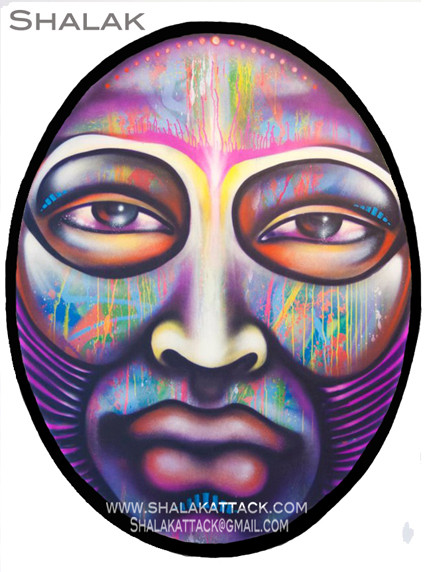 """METAMORFOSIS #2""  By Shalak.  Spraypaint on wood (1.80m x 1.20m Oval) 2011, Brazil (Available for Purchase in Sao Paulo, Brazil, Inquire directly with artist)"