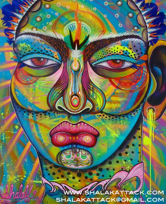"""Deusa das Cores. Colour Godess"" by Shalak. Mixed media on canvas (120cm x 80 cm) 2012, Brazil    (Sold - Private Collector - Brazil)"