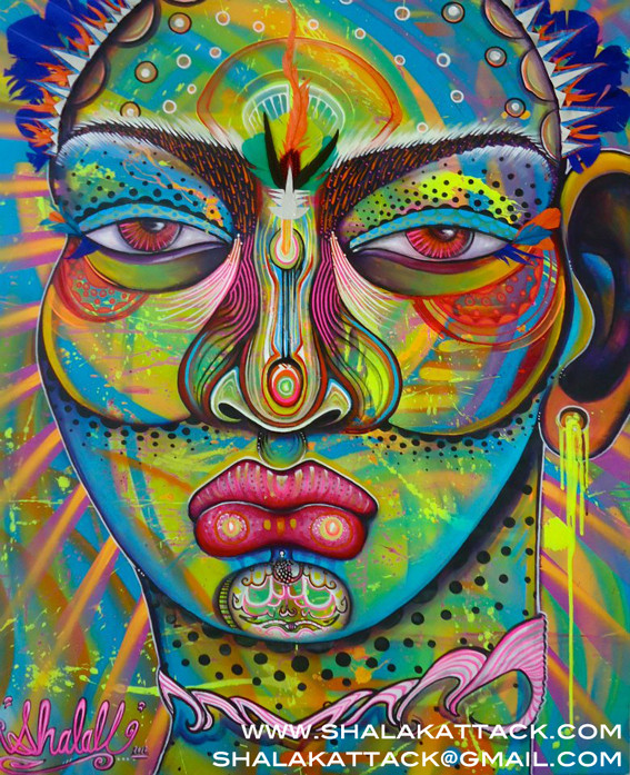 """Deusa das Cores. Colour Godess"" by Shalak. Mixed media on canvas (120cm x 80 cm) 2012, Brazil    (Sold to Private Collector - Brazil)"