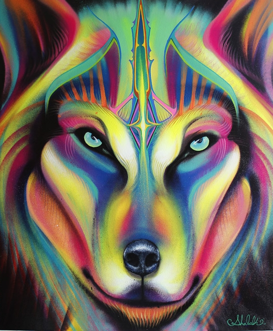 """""""Wolf"""", Spraypaint and Acrylic on Canvas, 2015 (Sold to Private Collector - Seattle, USA)"""