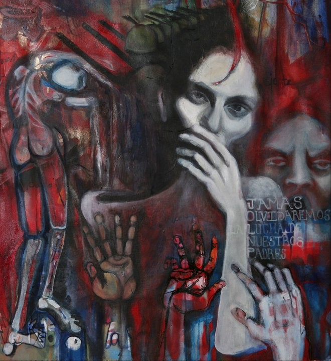 """""""Penando"""" By Shalak. Oil and mixed-media on canvas. 2006  (Stolen - Award offered if found)"""