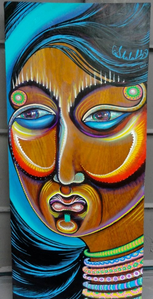 """Mulher Madeira""  By Shalak. Acrylic on wood (70 cm x 30cm)  2011   (Sold to Private Collector - Brazil)"