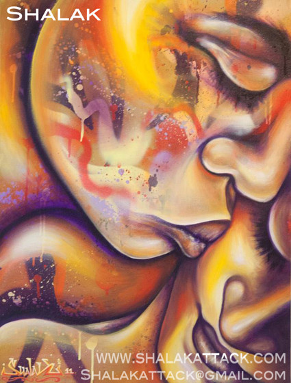 """""""Amor"""" by Shalak.  Mixed media on canvas.  2011   (Private Collection - Brazil)"""