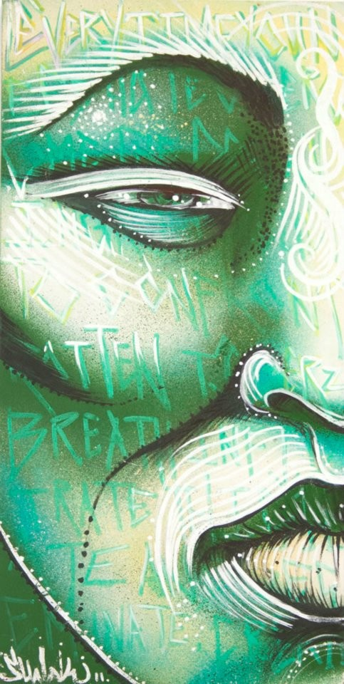 """Mascara Verde"" By Shalak. Mixed media on wood,  2011, Brazil    (Sold -Private Collection -Brazil)"