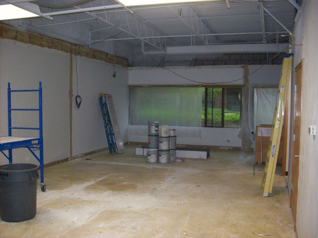 This is how the space looks without the interior walls