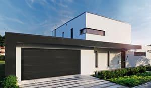 Mattschwarzes Garagentor im modernen Design  -  Bauen, Hausbau, Bau, Garagentore, Blockhaus, Massivhaus