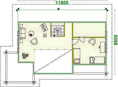 Hausentwurf - Obergeschoss - Einfamilienhaus - Holzhaus - Brandenburg -Blockhaus - Wohnblockhaus - Oranienburg  - Velten - Nauen  - Falkensee - Blockbohlenhäuser