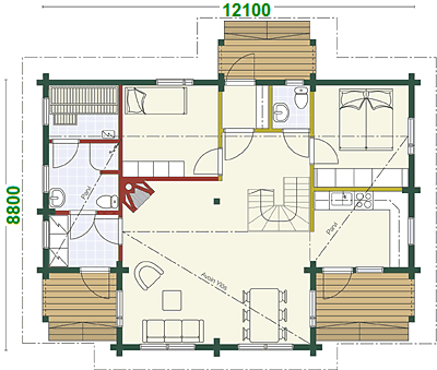 EG - Blockhaus Hausentwurf